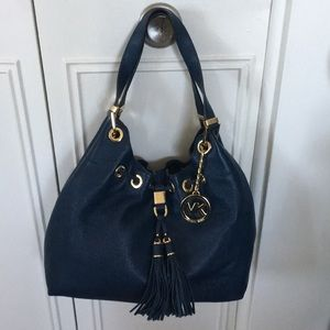 Michael Kors Blue Pebbled leather hobo